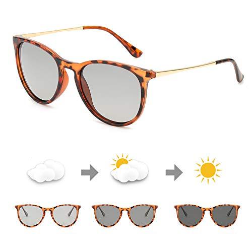 TosGad Sonnenbrille Photochromatisch Polarisiert Selbsttönend Brille Anti Reflexbeschichtung für Autofahren Laufen Radfahren 100% UVA UVB Schutz Hoch