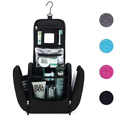GO!elements® Kulturbeutel Mann Kulturtasche zum Aufhängen Herren & Damen | Kosmetiktasche groß Männer Frauen für Koffer & Handgepäck | Waschtasche Reise-Tasche (Schwarz)