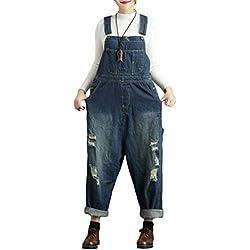 YuanDiann Femme Salopette Denim Jambe Large Impression Grande Taille Combinaison Jeans Romper Grossesse Maternité Ample Boyfriend Large Combi Pantalon 5# Bleu
