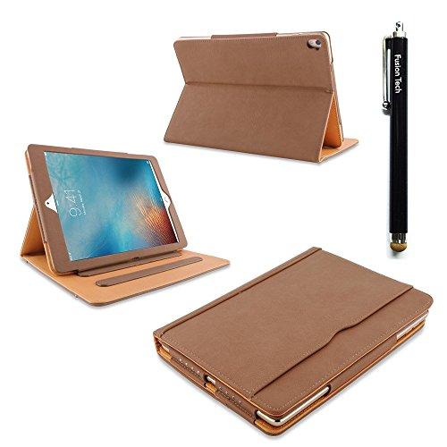 iPad Air 2 Hülle FusionTech® Luxury Tan Leder Schutztasche mit Smart Cover Auto aufwachen / Schlaf Schutzhülle für Apple iPad Air 2 (iPad 6) Modell 2014