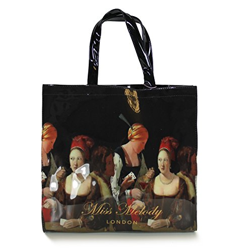gossip-girl-ladies-small-large-patent-glossy-shopper-tote-lunch-bag-floral-floral-patterned-large-bl