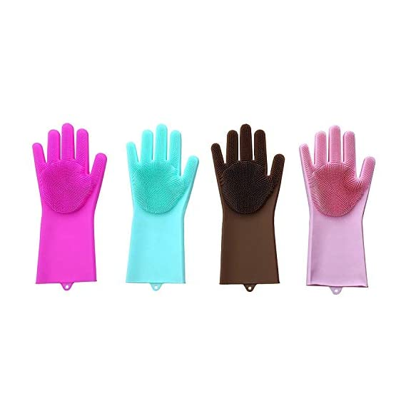 Wuze Silicone Dish Washing Cleaning Gloves, Silicon Hand Gloves for Kitchen Dish Washing and Pet Grooming, Great for Washing Car, Bathroom,Multi-Color,1 Pair