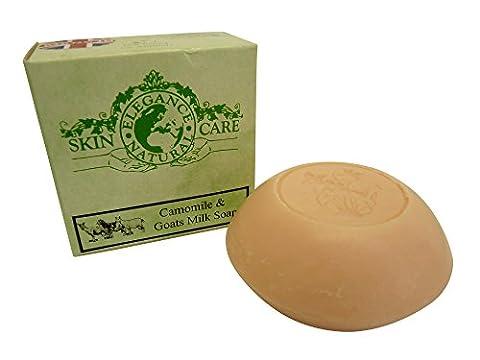 Ziegenmilch Seifen (Kamille) 100g Psoriasis Ekzem Trockene Haut Dermatitis Rosacea Hergestellt in Großbritannien von Elegance Natural Skin Care