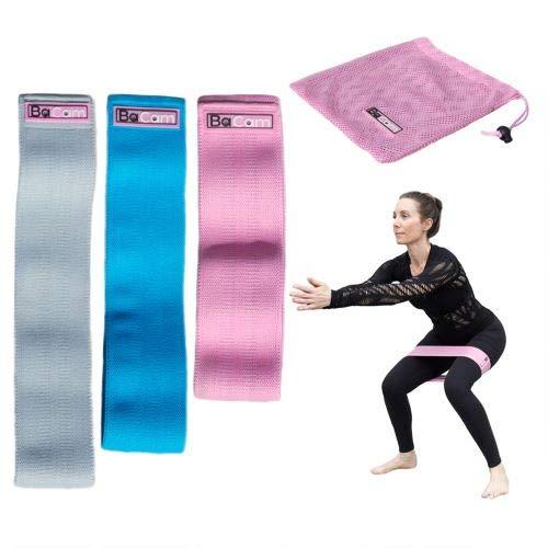 BaCam Bands Dicke Widerstandsbänder für Beine und Hintern - rutschfestes Gewebematerial, Set mit 3 elastischen Bändern für Übungen, Pink Set -