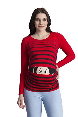 Baby First Tee T-shirt (Peek a Boo - Lustiges witziges süßes Langarm-Umstandsshirt mit Guck-Guck Motiv für die Schwangerschaft / Umstandsmode / Schwangerschaftsshirt, Langarm (Large, Rot))