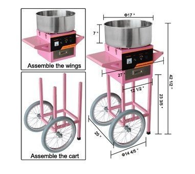 Gowe CE commerciale Marshmallow Cotton Candy Floss Macchina Maker carrello kit