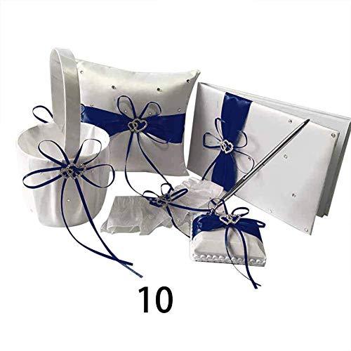DDbrand 1 Satz Gästebuch Stift Ring Kissen Strumpfhalter Blumen Korb Hochzeitsparty Dekoration - 10 - Ring-kissen Gästebuch,