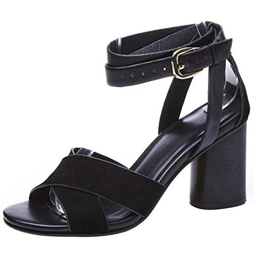 COOLCEPT Damen Mode Knochelriemchen Sandalen Open Toe Blockabsatz Schuhe Schwarz