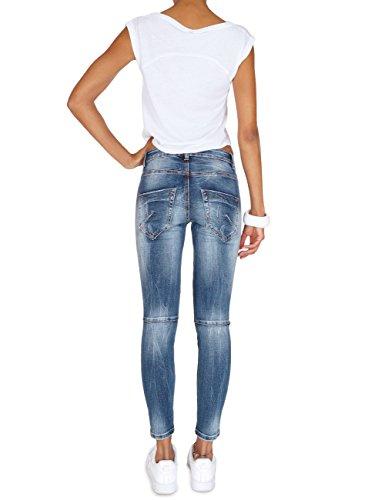 62nd Avenue Damen Destroyed Skinny 7/8 Push Up Jeans mit Flap Pockets 6197 Blau