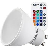 SEBSON® Lampadine RGB GU10 5W, 15 Colori + bianco caldo 2700K, dimmerabile, LED, telecomando incluso