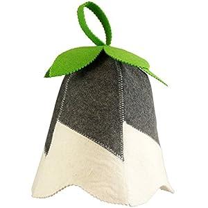 DIYer® – Saunahut – inkl. Sauna-Ratgeber – Motiv Glöckchen grün – 100% Baumwolle – Filz Saunamütze