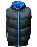 SK-5 Men's Puffer Hooded Gilet Bodywarmer Quilted Fashion Coat black