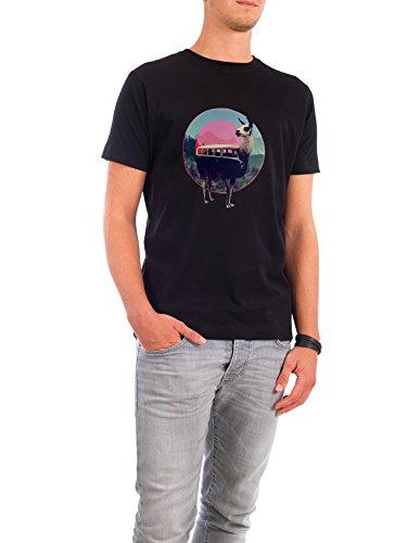"""Design T-Shirt Männer Continental Cotton """"Lama"""" - stylisches Shirt Tiere Natur von Ali GÜLEÇ Schwarz"""