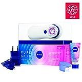 NIVEA Pure Skin Kit Brosse Nettoyante Électrique Visage, nettoyage 7X plus efficace, gel nettoyant visage avec tête de brosse pour peau normale & sensible