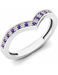 14 ct White Gold Round Amethyst & White Diamond Wedding Stackable Band Guard Chevron Ring