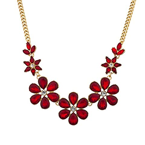 Lux Accessories Red Crystal Floral Flower Statement Necklace