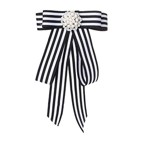 TREESTAR Corsage für Frauen Mädchen Brosche Schleife Streifen Traversen Halskette Blume Brosche für Hüte Handtasche Schuhe Stirnband Kleidung Zubehör 17 x 11 cm, schwarz
