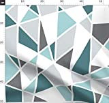 Geometrisch, Groß, Petrol, Türkis, Grau, Weiß Stoffe -