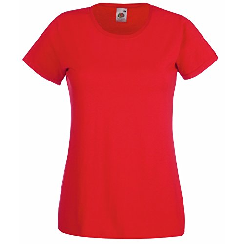 Fruit of the Loom - T-shirt -  Femme Rouge - Rouge