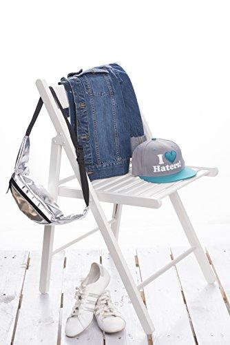 fringoo Unisex Bauchtasche, für Geld, Tasche, für Festivals, Holografisches Design, Leder, Reisetasche, mit Reißverschluss, Lauf-/ Sporttasche Silber