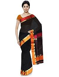 Mujaffara Ansari Maheshwar Cotton and Silk Saree (Black)