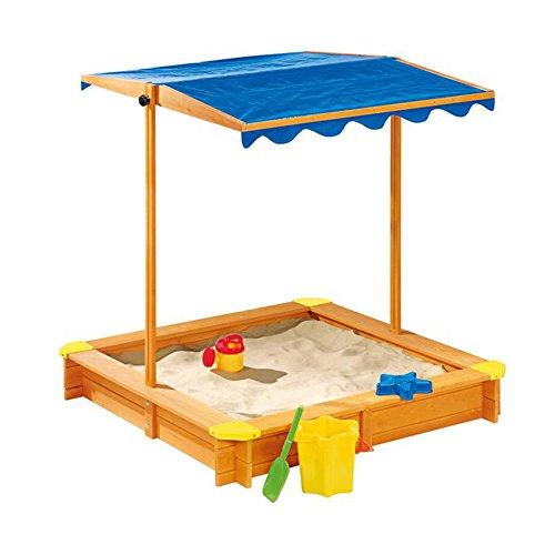 Junior Sandkasten mit Dach Fichtenholz Sandbox mit Dach Wetterfest Spielkasten