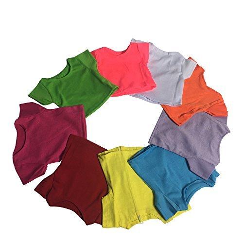 The New York Doll Collection D247 T-Shirt, kurzärmelig, hell, lila, Limette, himbeerfarben, orange, weiß, gelb, grau, blau, grün, einfarbig, für 45,7 cm große Puppen, Mehrfarbig