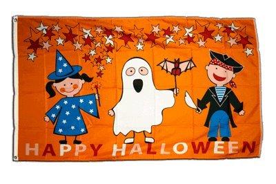 Fahne / Flagge Happy Halloween Kinder + gratis Sticker, Flaggenfritze®