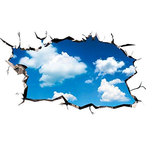 Cdet Aufkleber Blauer Himmel und weiße Wolken Wandaufkleber Selbstklebender Kleber Dekoratives Klebeband Notizbuch/Mauer/Keramikfliese/Glas/Küche/Geschenk/Auto/Galerie DIY Fensterbilder Fensterfolien (Wolken Und Himmel)