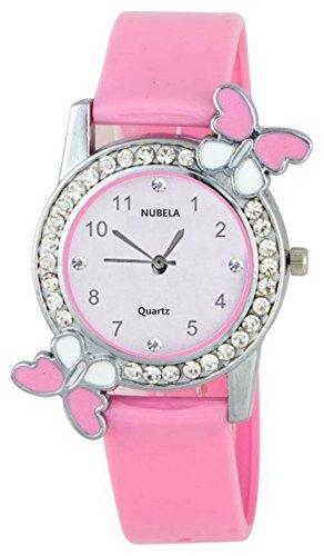 NUBELA Pink Analogue Diamond Studded White Dial Quartz Movement Girl's Watch -(DG!_BF)