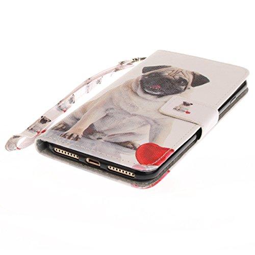 iPhone 7 Plus Hülle, iPhone 7 Plus Flip Hülle, Gift_Source [ Katzenauge ] Premium PU Leder Brieftasche Schutzhülle Flip Tasche Case Cover Schütz Hülle Abdeckung Ledertasche mit Integrierten Kartenstec E1-Hund