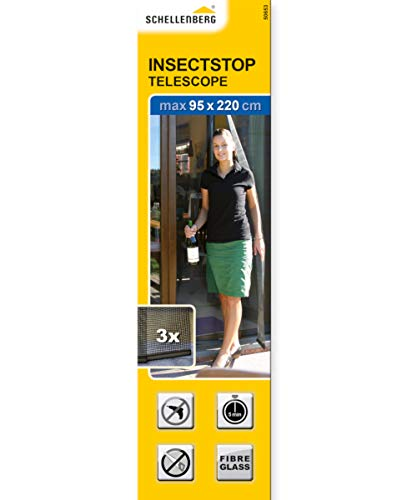 Schellenberg 50653 Cortina telescópica de protección Anti Insectos, mosquitera para Puertas, negro, 95X220 CM