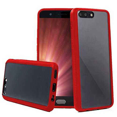 OnePlus 5 Case, Orzly Fusion Bumper Case for ONE PLUS FIVE Model SmartPhone ( 2017 Version) Protective Hard Back Cover Shell with Neon RED Impact Absorbing Rubber Rim & Clear Back Panel