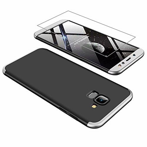 AILZH Samsung A6 2018 Hülle 360 Grad Schutzhülle PC Hartschale Anti-Schock HandyHülle Anti-Kratz Stoßfänger 360° Full-Cover Case Matte Schutzkasten+Gehärteter Glasfilm(Silber schwarz)