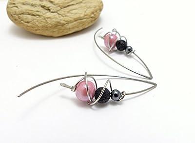 Boucles d'oreilles rose gris noir, céramique, hématite, lave et acier inoxydable (A15)