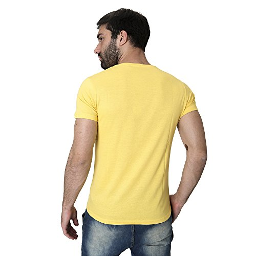 T-Shirt Männer Shirt in Baumwolle Sommer Casual Smiling London Gelb