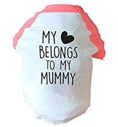 My heart belongs to my mummy two toned dog vest pink or blue
