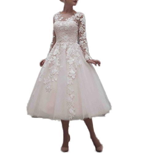 CoCogirls - Robe - Trapèze - Manches Longues - Femme blanc Weiß 38 Weiß