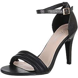 Damen Schuhe, JL1588, PUMPS, HIGH HEELS SANDALETTEN, Synthetik in hochwertiger Lederoptik , Schwarz, Gr 38