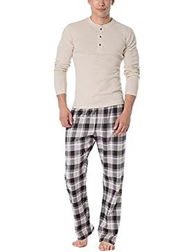Rossli SAM-PY 093 Pijama De Dos Piezas Camiseta De Manga Larga Pantalón Largo Para Hombres