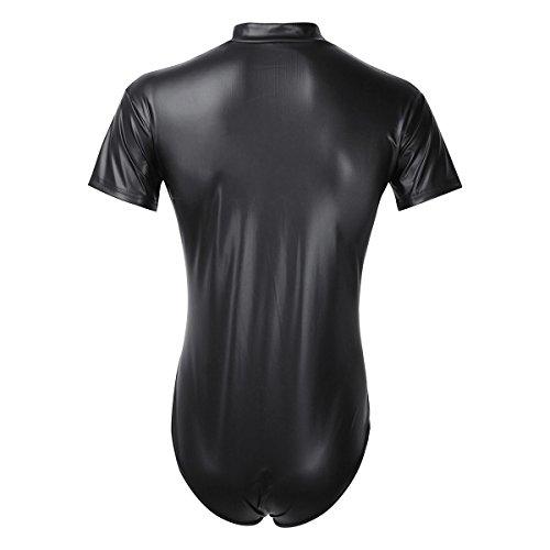 YiZYiF Herren Body Wetlook Dessous Schwarz Leder Optik Männerbody Bikini Slip Kurz-Body Overall Bodysuit mit Reißverschluss S-XXL Schwarz
