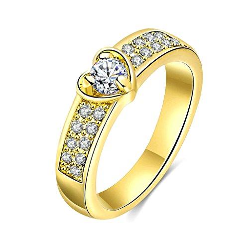 Daesar Gioielli Placcato Oro Anelli Donna Anello Amore Cuore Anelli Perle Engagement Oro Anelli Dimensioni:17
