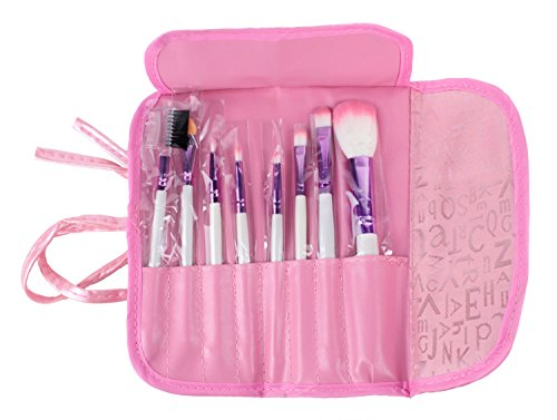 TOOGOO(R) 8pcs Pro Rose Maquillage Pinceaux avec etui