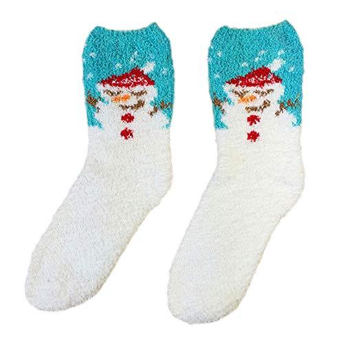Fenverk Weihnachten Socken, 1-Paar Damen Herren Cartoon Socken Warme Weiche Korallen Slipper Socken Erwachsene Weihnachtsgeschenk (D)