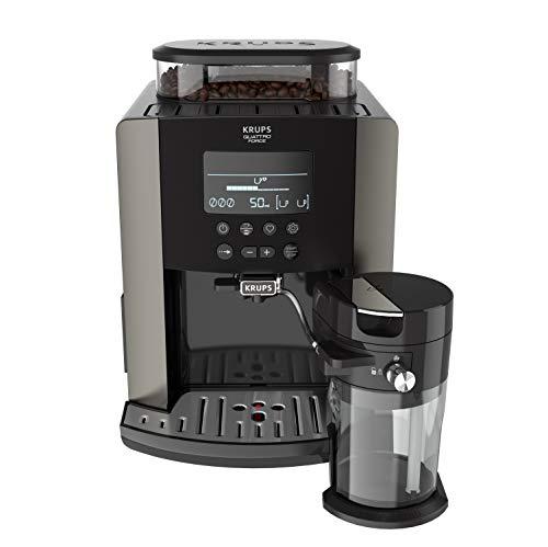 Krups Quattro Force Arabica Latte EA819E10 - Cafetera Superautomática 15 Bares, Pantalla LCD, Programas de Leche y Personalización Bebidas, Molinillo Metálico Profesional, Modo Limpieza, Jarra Leche