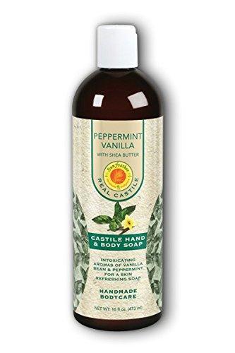 SunFeather Peppermint Vanilla Flüssigkeit Castile Soap with Shea Butter 16oz (Oz Flüssigkeit E 16)