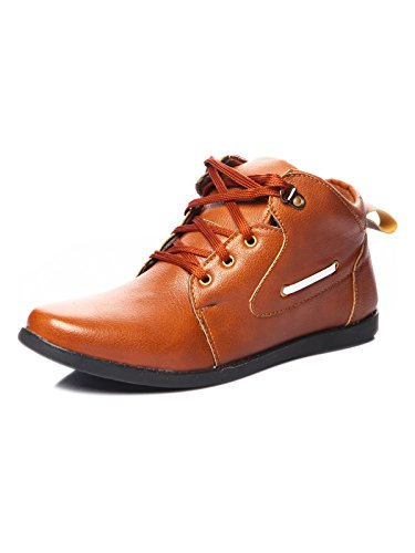 Shoe Island Male Tan Brown Synthetic Ankle Length Shoes -7 UK  available at amazon for Rs.499