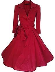 Robe de Soiree ,Vintage Rockabilly style,Retro Années 50, Jupe, Swing,Pin up ,Parfaite Pour Soiree Dansante, Taille 34-54 (46, Rouge)