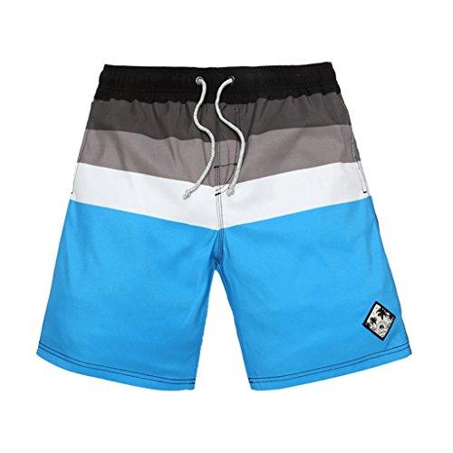 GWELL Herren Top Qualität Schnelltrocknend Badeshorts Streifen Beachshorts Badehose Sommer Strand Blau