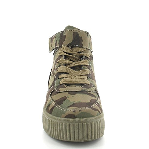 Ideal Shoes ,  Sneaker donna militaire